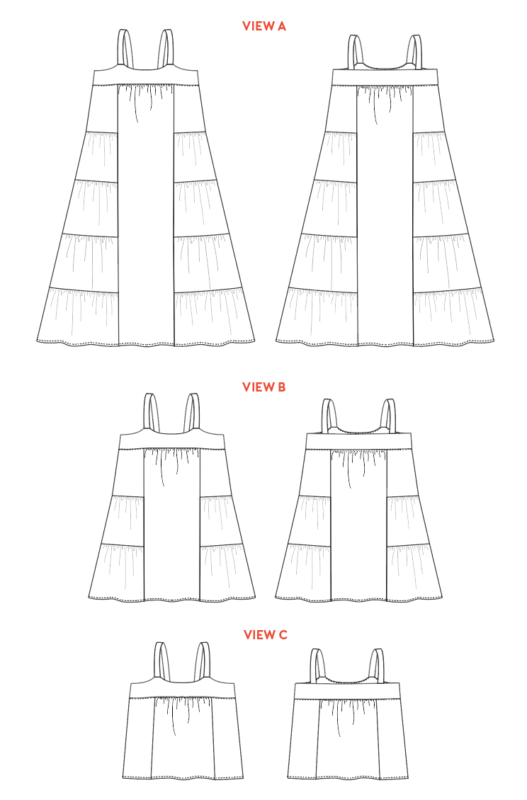Line drawings show the front and back views of the tiered Marcel Dress and Tank Top Pattern