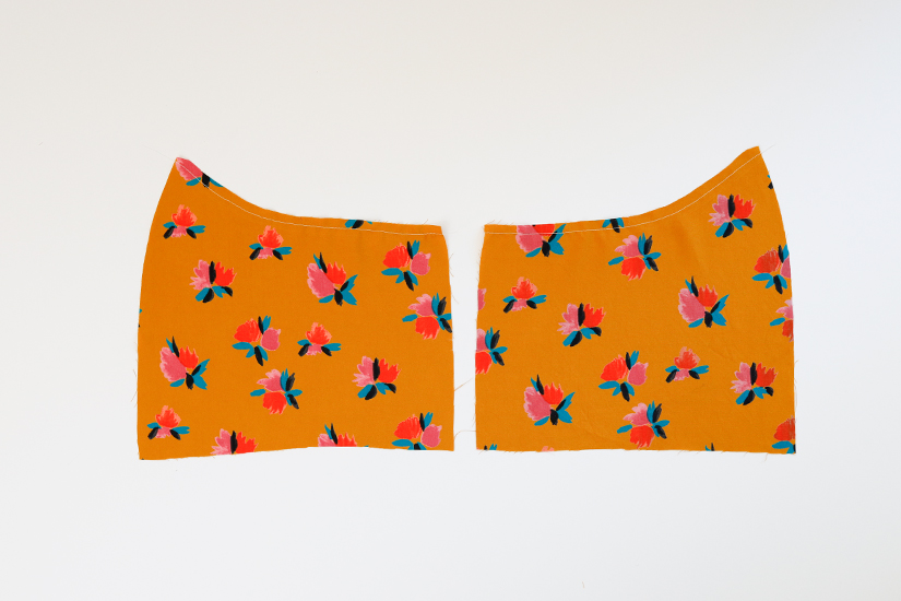 Two mirror image Marcel bodice side pieces are shown on a white background.