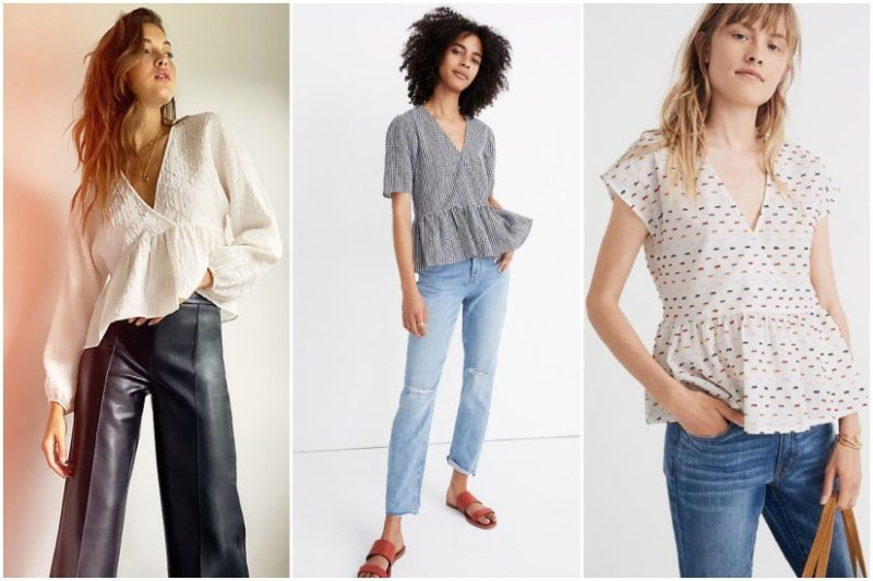 3 women in wrap front peplum blouses