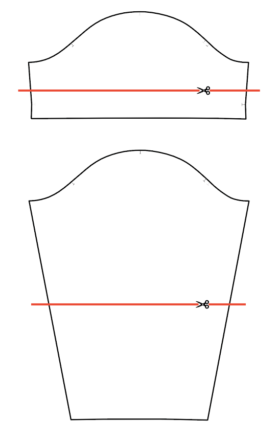 Pixie pattern sleeve line drawings are shown in black with red lines indicating where to add or remove length.