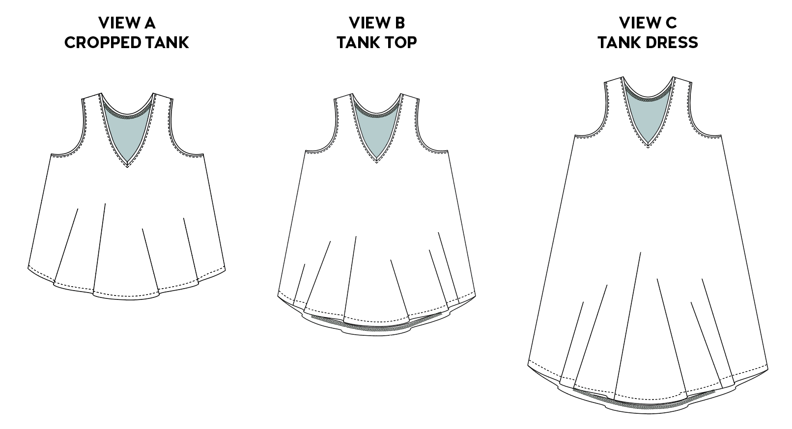 Line drawings of a V-neck tank in cropped, tank top, and tank dress views are shown in black and white.