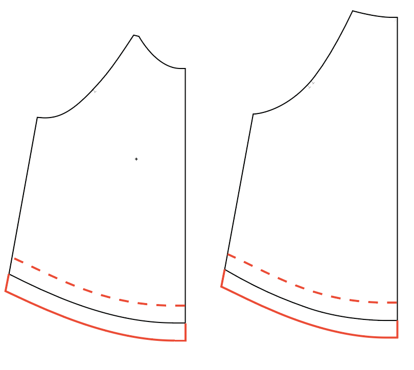 line drawings of the Front and back Waterfall pattern pieces are shown in black with red lines showing length adjustments.