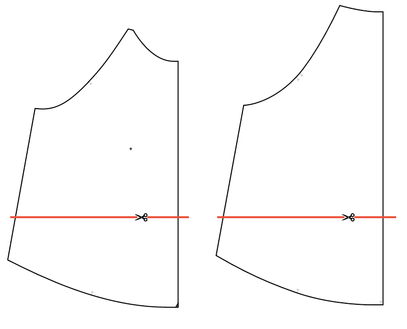 Line drawings of the front and back Waterfall pattern pieces are shown with a red line indicating where to adjust length.