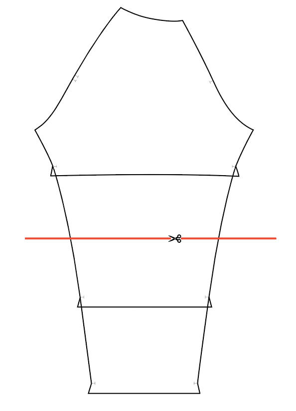Line drawing of the Waterfall sleeve pattern piece is shown in black with a red line across the middle indicating where to add length.