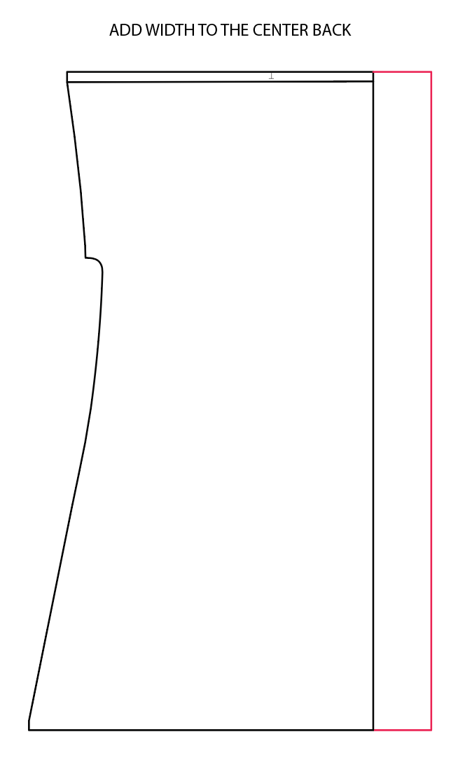 Black and white diagram with a red line indicating where to add width to the back of the Fringe dres