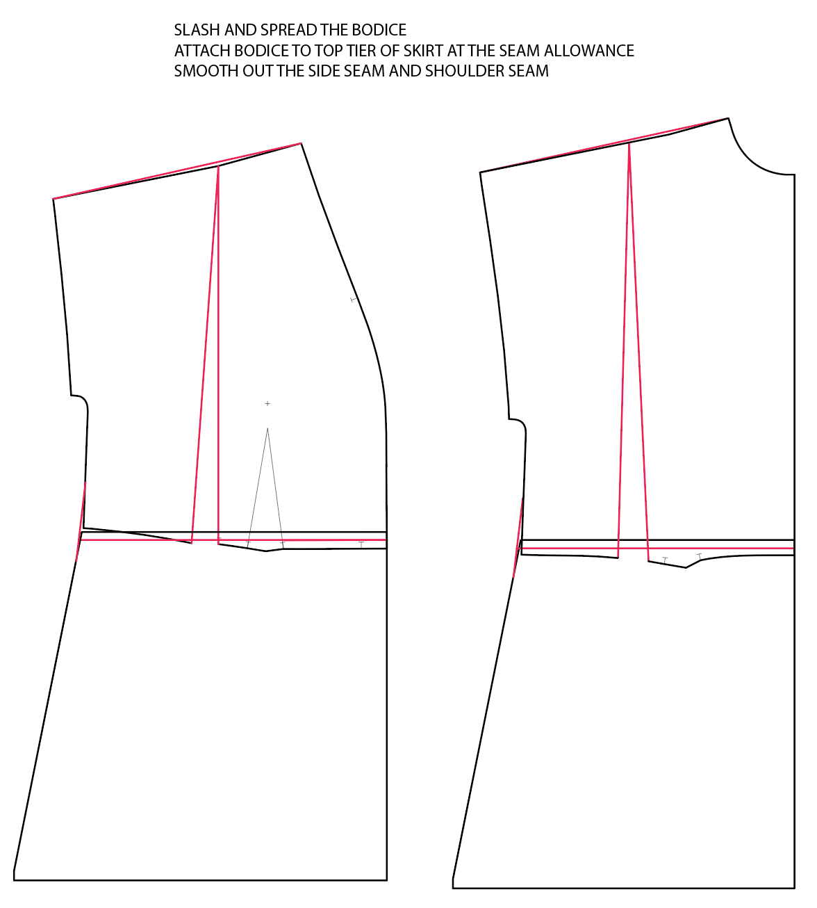 Diagram shows where to slash and spread the Fringe dress pattern