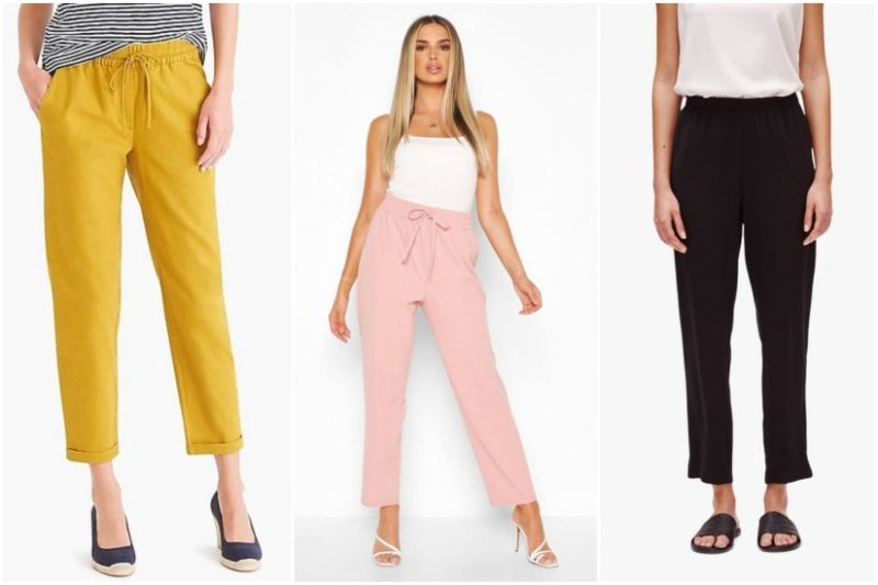 Yellow, pink, and black elastic waist trousers shown on white backgrounds.