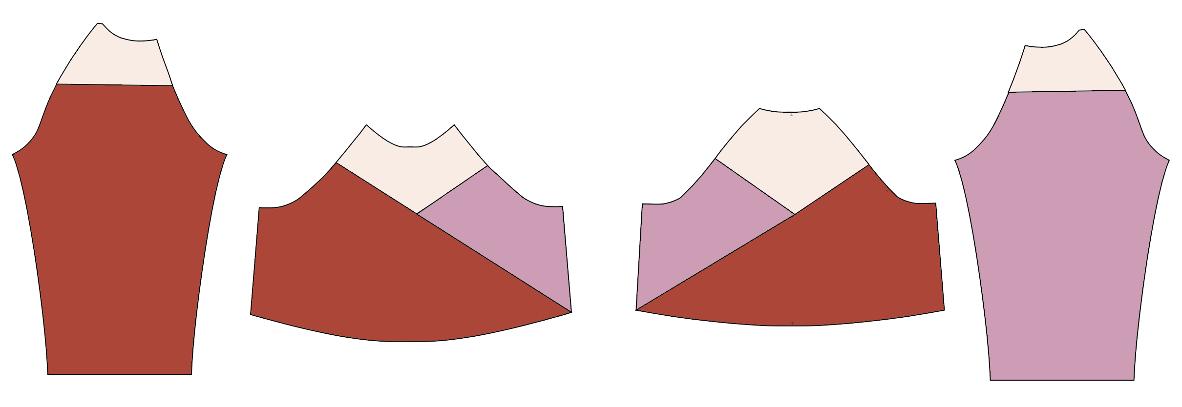 Illustration showing both sleeves, front, and back pattern pieces color-blocked