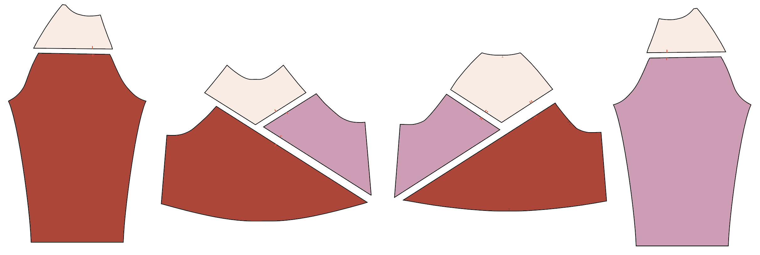 illustration shows cut color-blocked pattern pieces