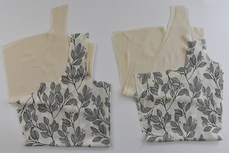 Cream and black fabrics are cut into Victory tank pattern pieces