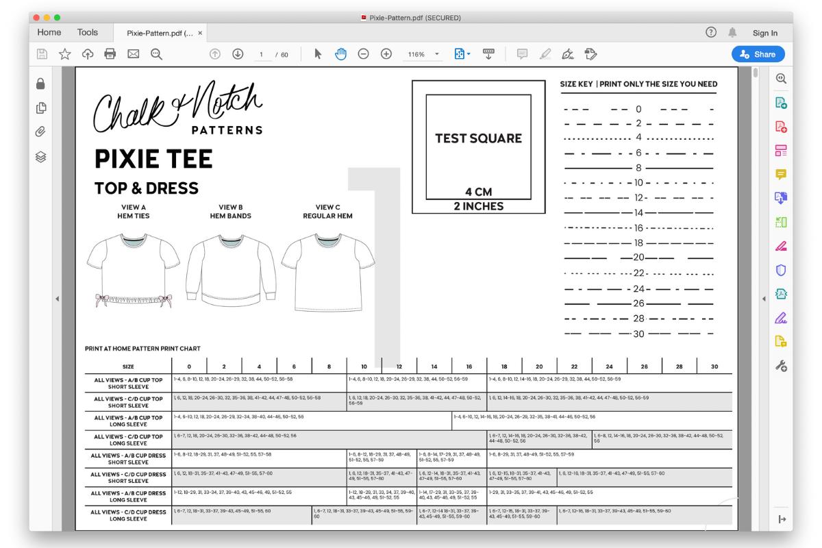 PDF pattern opened in Adobe window
