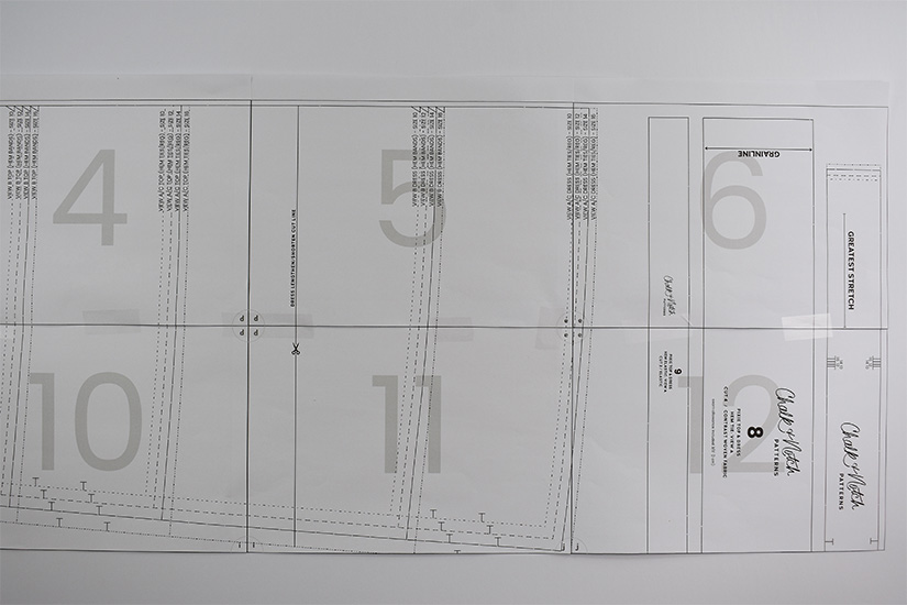 Two rows of pdf sewing pattern pages are attached together.