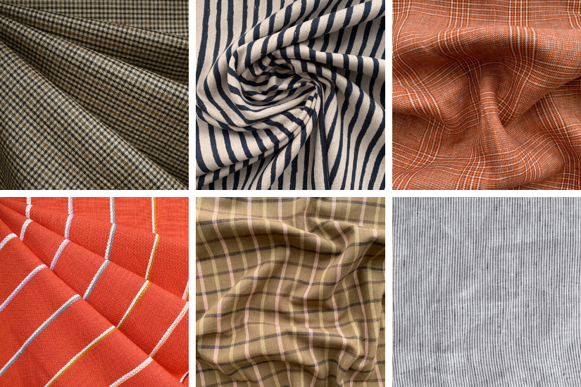 A graphic divided into six squares showing plaid and stripe fabric options for the Crew Shorts and Trousers pattern.