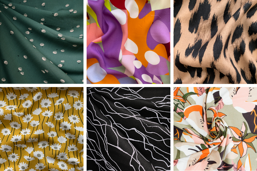 A graphic divided into six squares showing colorful and bold printed fabric options for the Crew Shorts and Trousers pattern.