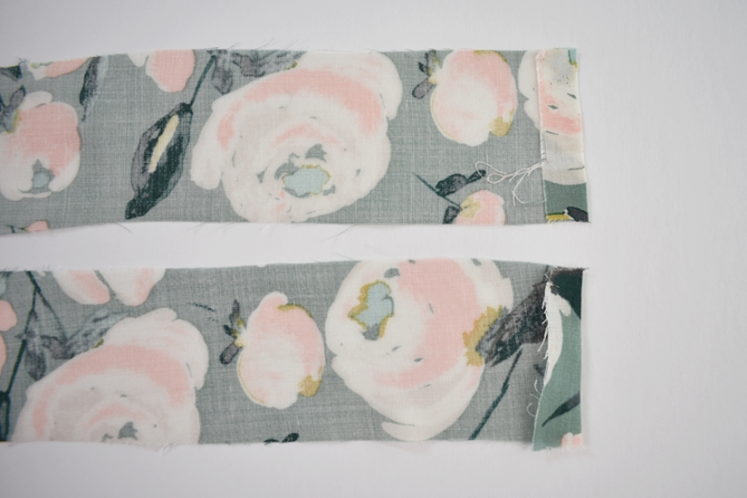 Two Orchid midi ties are shown with one short edge folded and sewn.